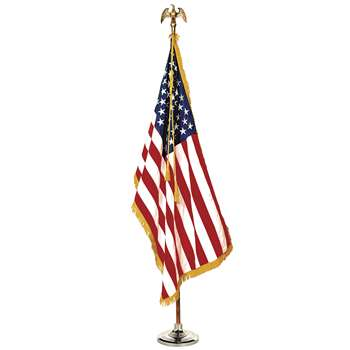 Complete Mounted Us Flag Set 3X5 8 Ft Pole By Annin