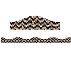 Big Magnetic Border Black Scribble Chevron Burlap, ASH11128