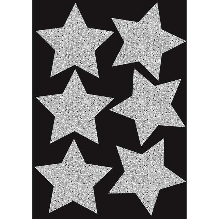 "Die Cut Magnets 4"" Silver Sparkle Stars, ASH30451"