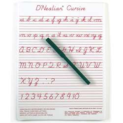 "Dnealian Cursive Write-On/Wipe-Off Board (9"" X 12"") By Ashley Productions"