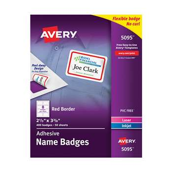 Self Adhesive Name Badge Labels White With Red Bor, AVE05095