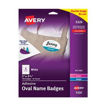 Self Adhesive Name Badges Wht Oval, AVE05326