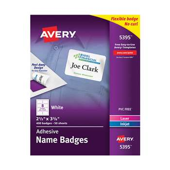 Self Adhesive Name Badges Wht Rect, AVE05395
