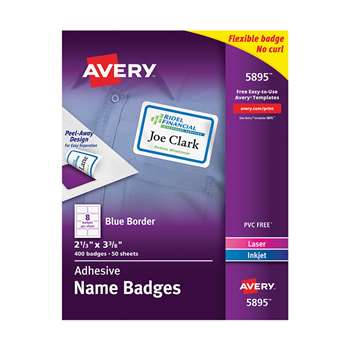 Self Adhesive Name Badges Wht Rect With Blue Borde, AVE05895