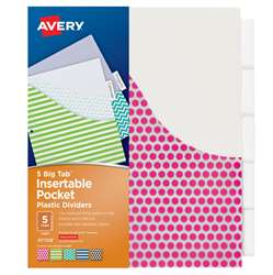 Avery Big Tab 5 Tab Pocket Insertable Plastic Divi, AVE07708