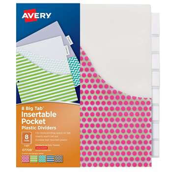 Avery Big Tab 8 Tab Pocket Insertable Plastic Divi, AVE07709