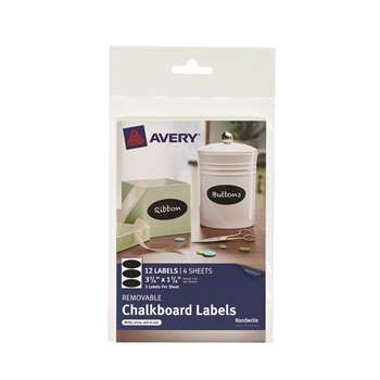 Avery Oval 12Pk Removable Chalkboard Labels 3 3/4X, AVE73303