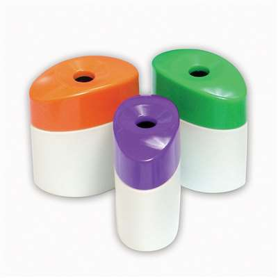 Single Hole Pencil Sharpeners With Receptacle Assorted Colors By Baumgartens