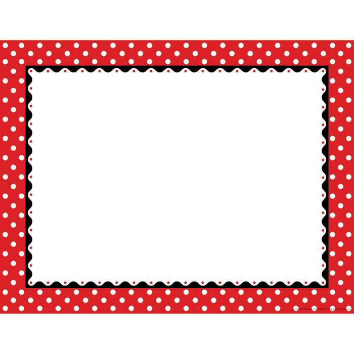 Just Dotty Red & White Border Chart By Barker Creek Lasting Lessons