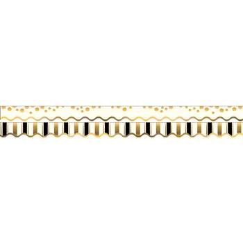 Gold Coins Border Double-Sided Scalloped Edge, BCPLL903