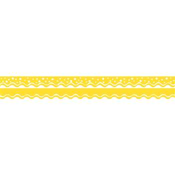 Happy Lemon Yellow Border Double Sided Scalloped E, BCPLL997