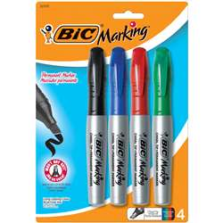 Bic Mark It Permanent 4/Pk Chisel Tip Markers Asstd Colors By Bic Usa