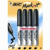 Bic Mark It Permanent Markers Black 4Pk Chisel Tip By Bic Usa