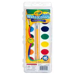 Crayola Washable Watercolor Set 16 Semi Moist Oval Pans 1 Brush By Crayola