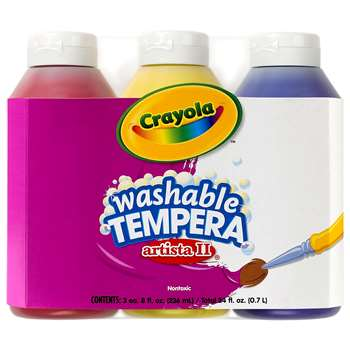 Tempera Paint Washable 3Ct 8Oz Primary Color Set Artista Ii By Crayola