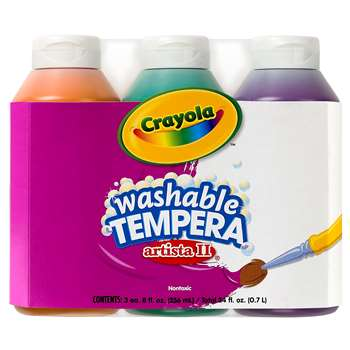 Tempera Paint Washable 3Ct 8Oz Secondary Color Set Artista Ii By Crayola