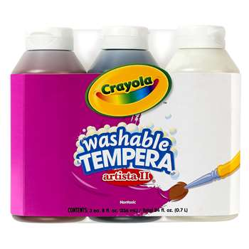 Tempera Paint Washable 3Ct 8Oz Neutral Color Set Artista Ii By Crayola