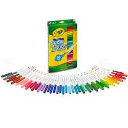 Washable Markers 50Ct Super Tips W/Silly Scents By Crayola