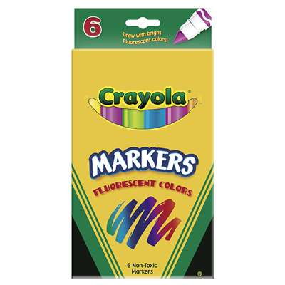 Crayola Markers 6Ct Fluorescent Colors Conical Tip By Crayola