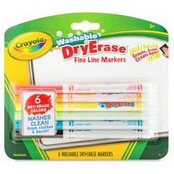 Crayola 6 Color Washable Dry Erase Markers, BIN985906