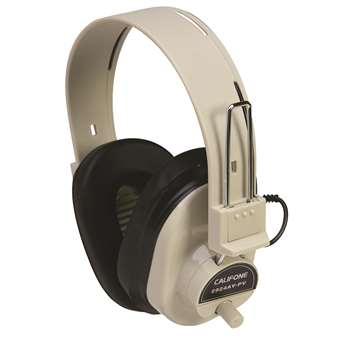 Deluxe Mono Headphone Fixed Coiled Cord W/ Volume Control By Califone International