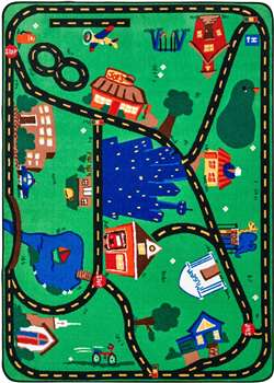 "Cruisin Around the Town Rectangle 5'5''x7'8"" Carpet, Rugs For Kids"