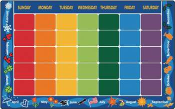 "Calendar Rug Rectangle 7'6""x12' Carpet, Rugs For Kids"