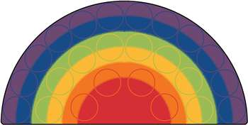Rainbow Rows Semi-Circle 6'x12' Carpet, Rugs For Kids