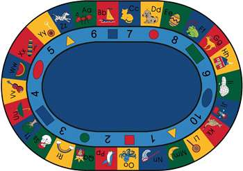 "Blocks of Fun Oval 6'9''x9'5"" Carpet, Rugs For Kids"