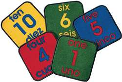 Bilingual Number Squares Kit Set of 10 Carpet, Rugs For Kids