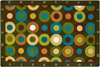 Alphabet Calming Circles Rectangle 8'x12' Carpet, Rugs For Kids