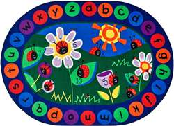 "Ladybug Circletime Oval 6'9""x9'5"" Carpet, Rugs For Kids"