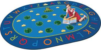 "Hip Hop to the Top Oval 6'9''x9'5"" Carpet, Rugs For Kids"