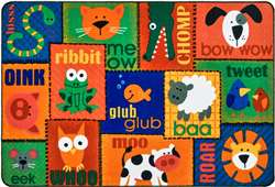 Animal Sounds Toddler Rug Rectangle 4'x6' Carpet, Rugs For Kids