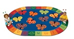 "123 ABC Butterfly Fun Rug Oval 5'5''x7'8"" Carpet, Rugs For Kids"