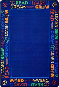 Read to Dream Border Rug Rectangle 4'x6' Carpet, Rugs For Kids