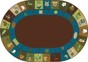 "Learning Blocks Nature  Oval 8'3""X11'8"" Carpet, Rugs For Kids"