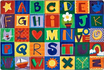 Toddler Alphabet Blocks - Primary Rectangle 8'x12' Carpet, Rugs For Kids