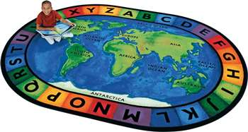"Circletime Around the World          Oval 6'9''x9'5"" Carpet, Rugs For Kids"