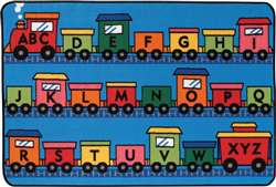 Alphabet Train Rectangle 4'x6' Carpet, Rugs For Kids