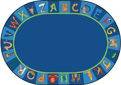 "A to Z Animals! Oval 6'9''x9'5"" Carpet, Rugs For Kids"