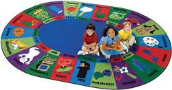 "Dewey Decimal Fun Rug* Oval 6'9''x9'5"" Carpet, Rugs For Kids"