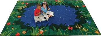 "Peaceful Tropical Night Rectangle 7'8""x10'10"" Carpet, Rugs For Kids"