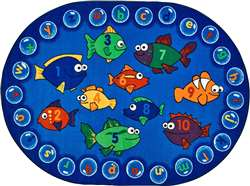 "Fishing for Literacy Oval 6'9''x9'5"" Carpet, Rugs For Kids"
