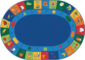 "Learning Blocks Oval 6'9''x9'5"" Carpet, Rugs For Kids"