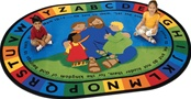 "Jesus Loves the Little Children Oval 5'5''x7'8"" Carpet, Rugs For Kids"
