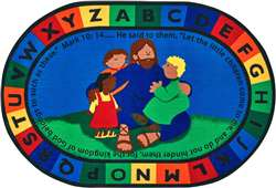 "Jesus Loves the Little Children Oval 6'9''x9'5"" Carpet, Rugs For Kids"
