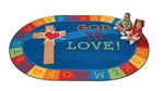 "God is Love Learning Rug Oval 5'5''x7'8"" Carpet, Rugs For Kids"