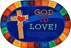 "God is Love Learning Rug Oval 6'9''x9'5"" Carpet, Rugs For Kids"