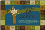 Nature's Colors God Is Love Learning Rectangle 4'x6' Carpet, Rugs For Kids